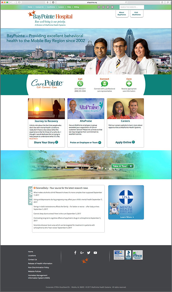 BayPointe Hospital Home Page