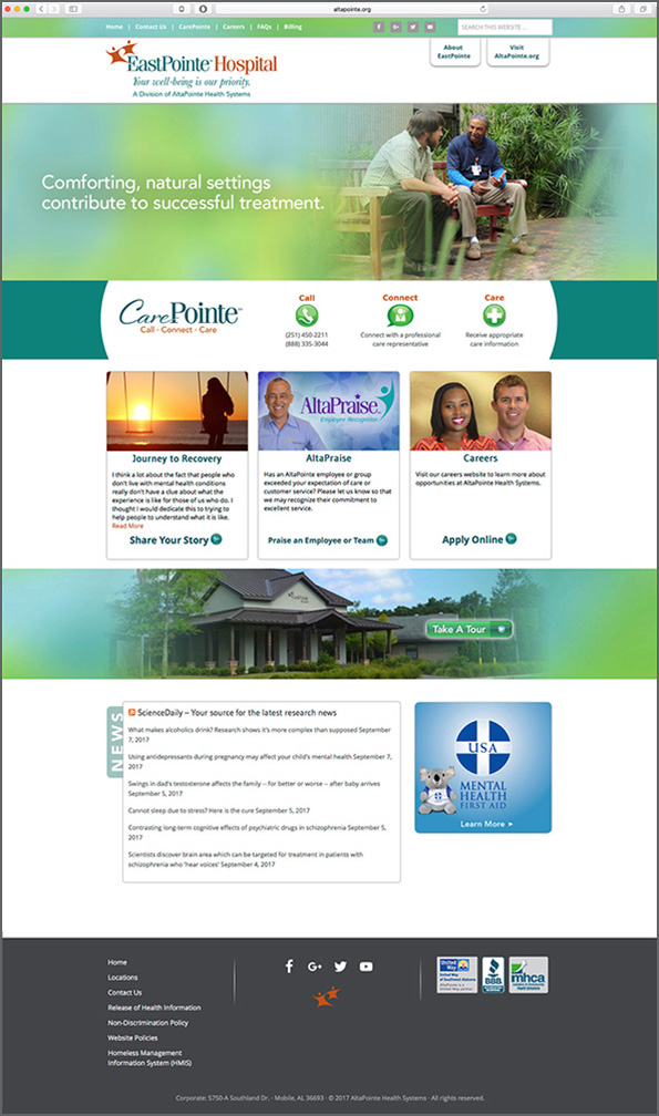 EastPointe Hospital Website