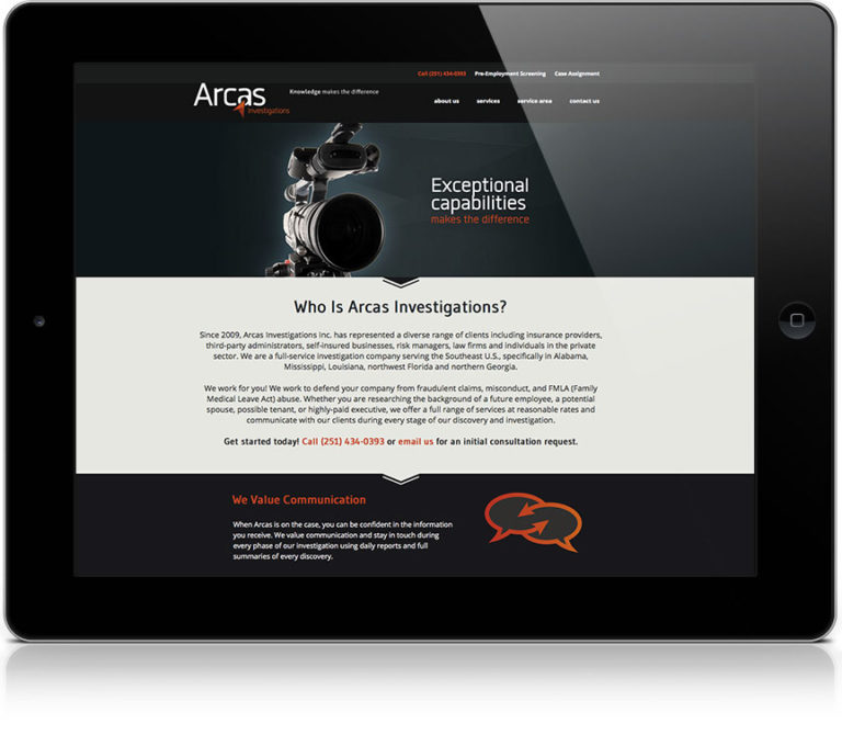 Arcas Investigations website on a tablet