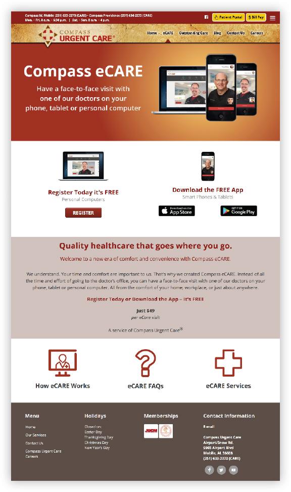 Compass Urgent Care ecare website page