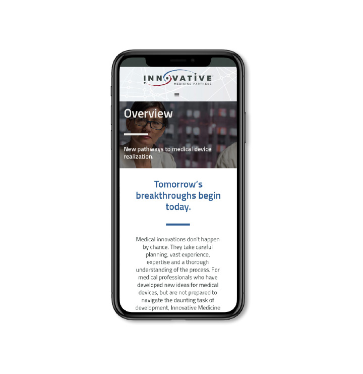 Innovative Medicine Partners Website on Mobile Device