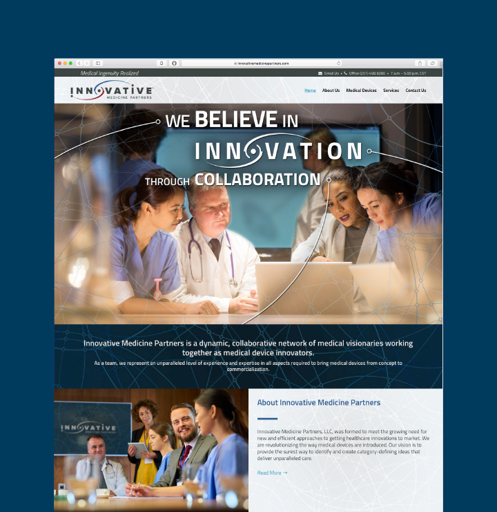 Innovative Medicine Partners Website Home Page