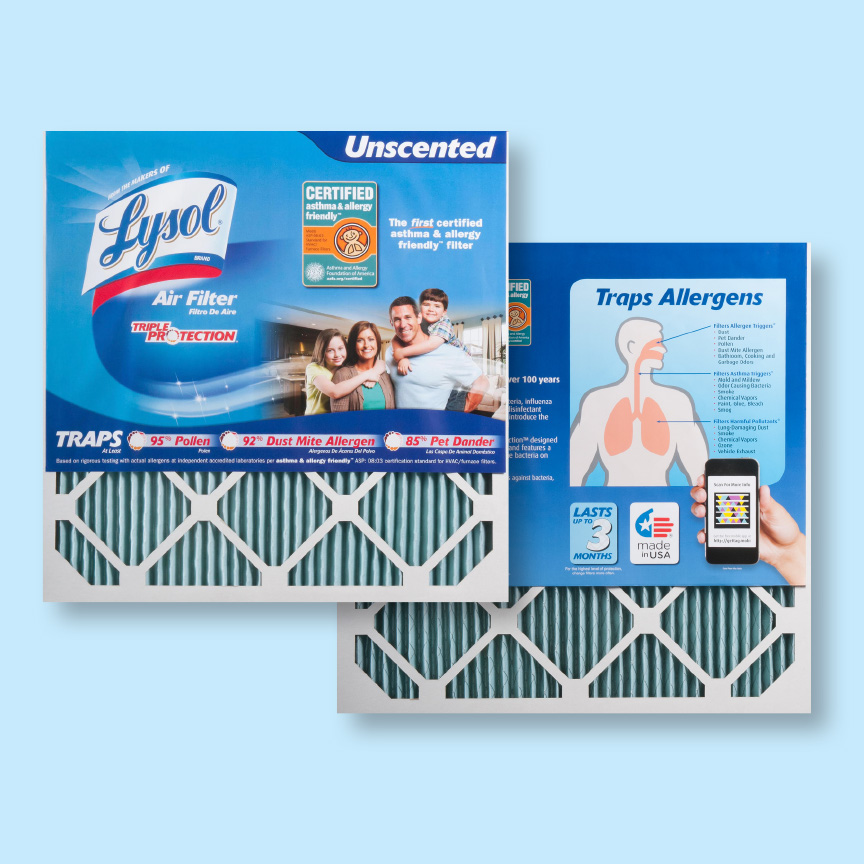 Lysol® air filters front and back panels