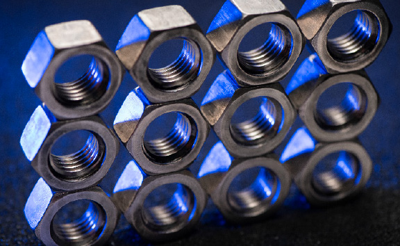 Photo of Stacked Steel Nuts