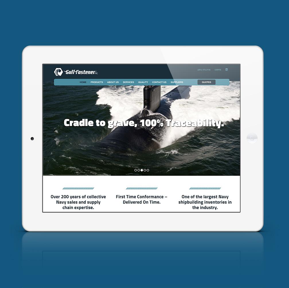 Gulf Fastener website displayed on a tablet