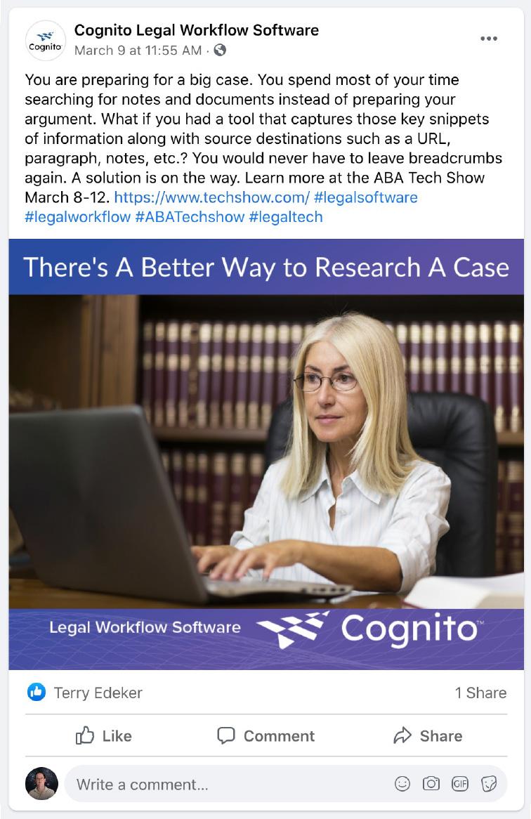 Cognito social media post - research