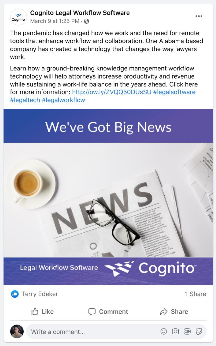 Cognito social media post - workflow